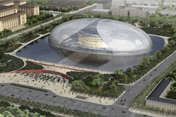 Самый большой театр в мире. Большой театр Китая (Жемчужина на воде). Пекин. Китай.